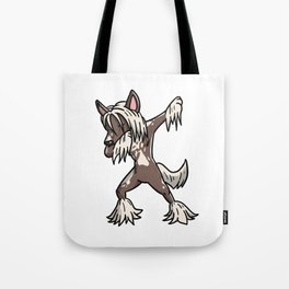 Funny Dabbing Chinese Crested Dog Dab Dance Tote Bag