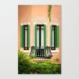 3 green windows Canvas Print