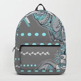 Boho Elephant , Gray Turquoise Backpack