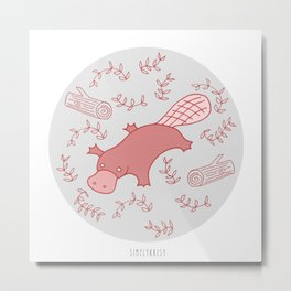 Red Platypus Metal Print