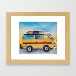 Magic campervan in the sunset Framed Art Print
