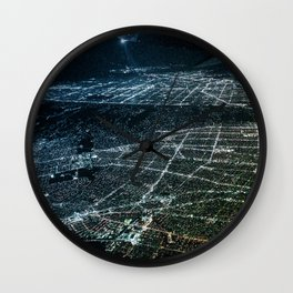 Night Flight out of Los Angeles Blue Wall Clock