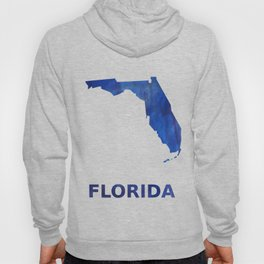 Florida map outline blue watercolor Hoody