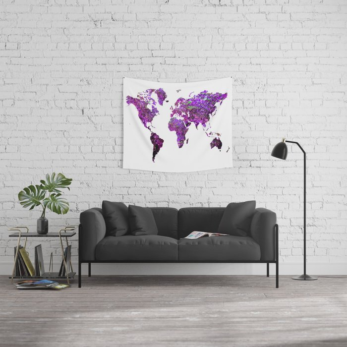 Purple world map wall tapestry by haroulita society6 purple world map wall tapestry gumiabroncs Image collections