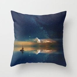 Sailboat in Space (Color) Throw Pillow
