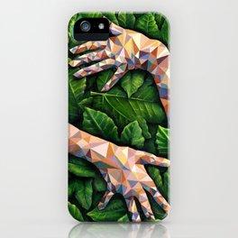 Hands Through Leaves - Brandie Lee - Geometric Shapes - Digital Garden of Eden iPhone Case