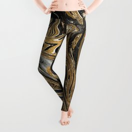 Black and Gold Liquid Marble Leggings