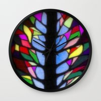 stained glass Wall Clocks featuring Stained Glass by Sartoris ART