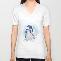 r2d2 V-neck T-shirts featuring R2D2 by Lalu - Laura Vargas