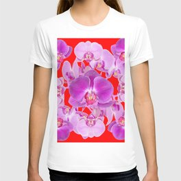 Modern Red Ornate Pink & Purple  Butterfly Orchids T-shirt