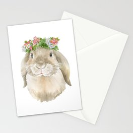 Lop Rabbit Floral Wreath Watercolor Painting Stationery Cards