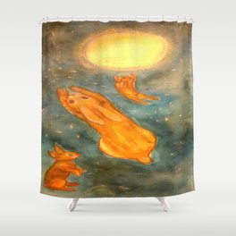 Rabbits on a Snowy Night Shower Curtain
