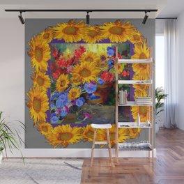 Glorious Sunflowers Wreath Design Still life Art Wall Mural