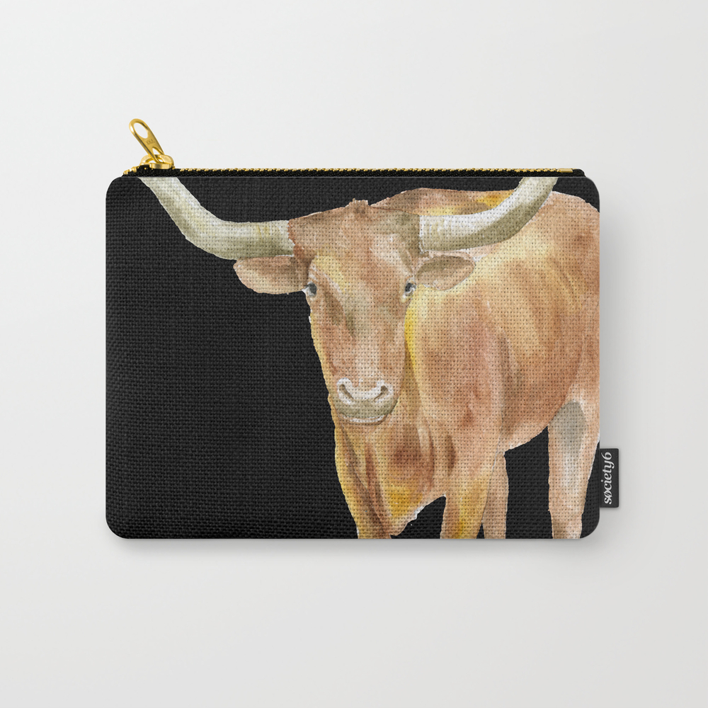 Texas Longhorn Steer Watercolor Carry-all Pouch by Susanwindsor CAP7915699