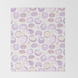 Happy Hedgies - Kawaii Hedgehog Doodle Throw Blanket