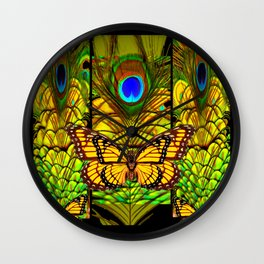 FANTASY YELLOW MONARCH BUTTERFLY PEACOCK FEATHER ART Wall Clock