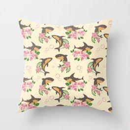 Fintastic Florals - Cream & Grey Throw Pillow