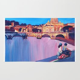 Rome Scene with Motorcycle and view of Vatican with Dome of St Peter Rug