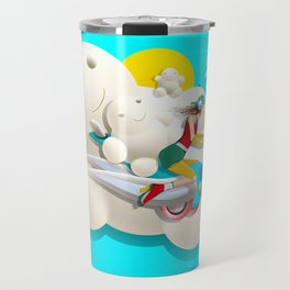 Time bunny girl and clouds Travel Mug