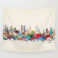 skyline Wall Tapestries featuring Istanbul skyline by bri.buckley