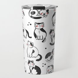 Black and White Cats Pattern Travel Mug