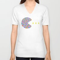 pacman V-neck T-shirts featuring pacman  by gazonula