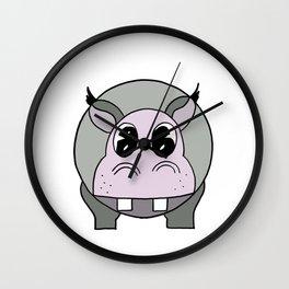 Happy Hippo drawing Wall Clock