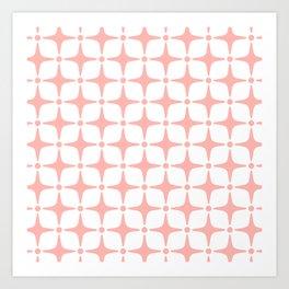 Mid Century Modern Star Pattern Peach Art Print