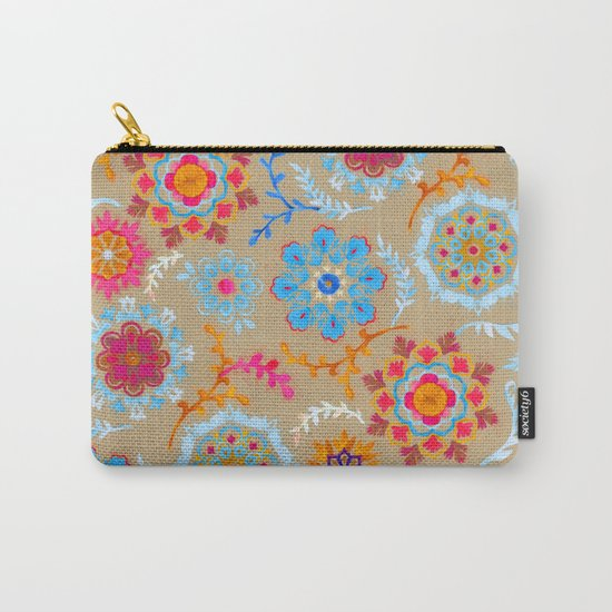 Brown Sugar Suzani Inspired Pattern Carry-All Pouch