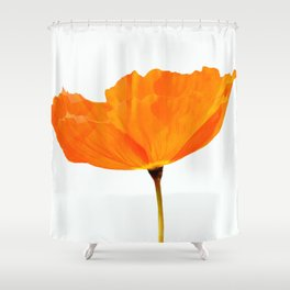 One And Only - Orange Poppy White Background #decor #society6#buyart Shower Curtain