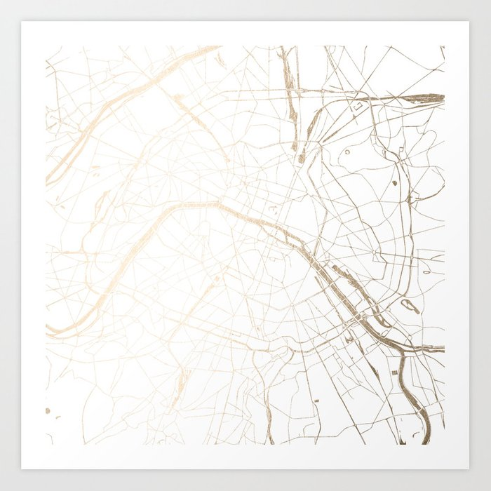 Paris Gold and White Street Map Art Print by mapmaker | Society6