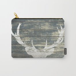 Rustic White Deer Silhouette Teal Wood A311 Carry-All Pouch