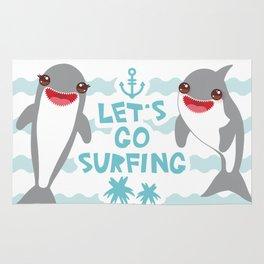 Lets go surfing. Cartoon kawaii dolphin Rug