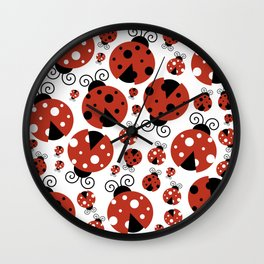 Ladybugs (Ladybirds, Lady Beetles) - Red Black Wall Clock