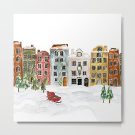 Christmas in the Village Metal Print