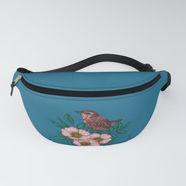 Wren and dog rose bouquet Fanny Pack