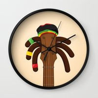 reggae Wall Clocks featuring Reggae by Emir Simsek