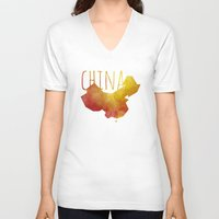 china V-neck T-shirts featuring China by Stephanie Wittenburg