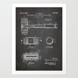 Judge Gavel Patent - Lawyer Art - Black Chalkboard Art Print