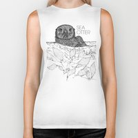 otters Biker Tanks featuring Sea Otter Sketch by Hinterlund