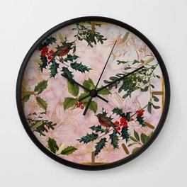 Holly and Mistletoe Wall Clock