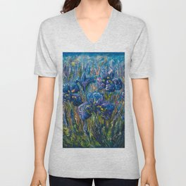 Countryside Irises Oil painting with palette knife Unisex V-Neck