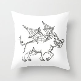 Winged Wild Boar Doodle Art Throw Pillow