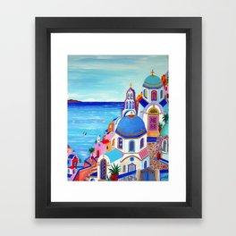 Santorini churches Greek Islands Framed Art Print