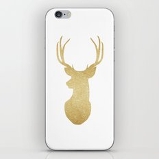 Gold Glitter Reindeer iPhone & iPod Skin