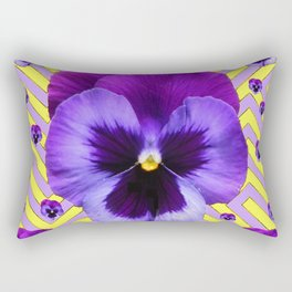 PURPLE PANSY  FLOWERS & YELLOW PATTERNS  GARDEN Rectangular Pillow