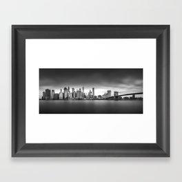 Monochrome panorama of Manhattan Framed Art Print