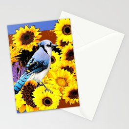 MODERN BLUE  JAY & COFFEE BROWN SUNFLOWERS Stationery Cards