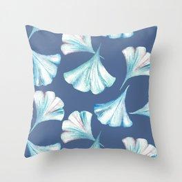 Ginkgo in Blues on Blue Pattern Throw Pillow