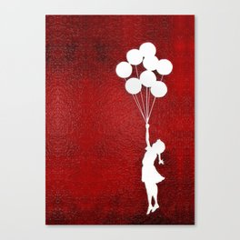 Banksy the balloons Girls silhouette Canvas Print
